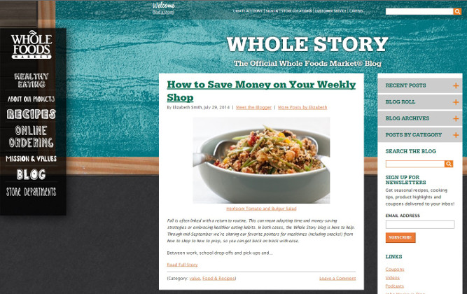 Whole foods- content marketing example