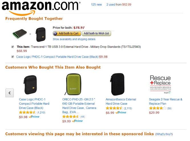 Amazon suggested items screenshot