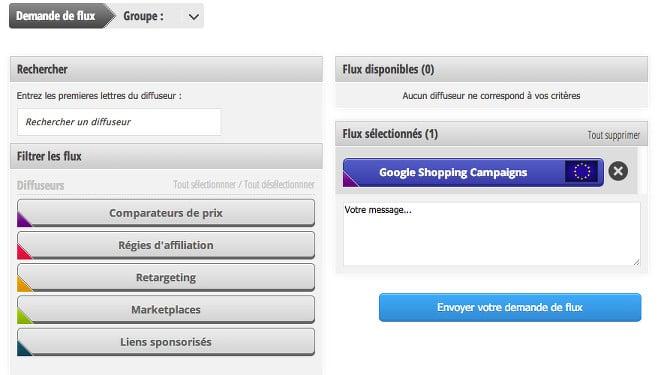 Le flux Google Shopping Campaigns se trouve dans les flux