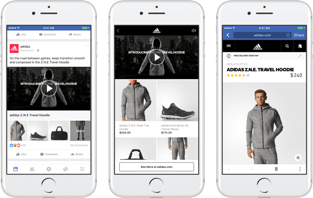 """Format publicitaire """"Collection"""" utilisé par la marque Adidas."""
