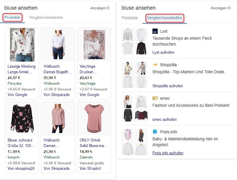 vergleichsanzeigen_bluse Google